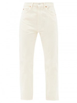 Re/Done Originals - 70s Cropped Straight-leg Jeans - Womens - Ivory