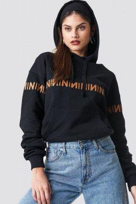 NA-KD Trend NA-KD Trend N Branded Hoodie - Black