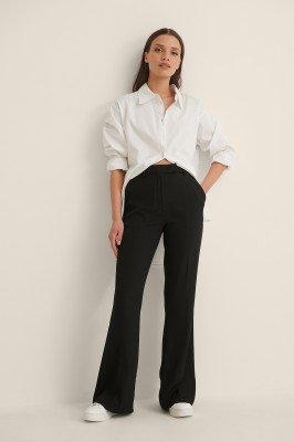 NA-KD Trend NA-KD Trend Uitlopende Pantalon Met Geplooide Voorkant - Black