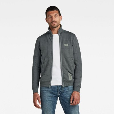 G-Star RAW Square Quilted Sweater Met Rits - Grijs - Heren