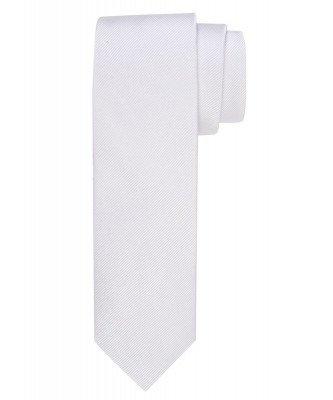 Profuomo Profuomo heren witte uni zijden stropdas