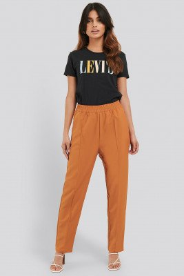 NA-KD NA-KD Elastic Waist Seamline Pants - Orange