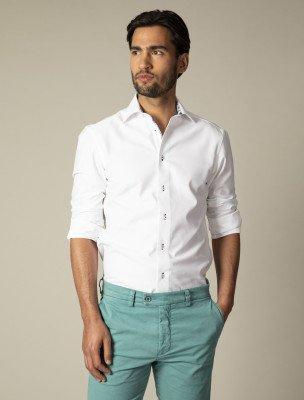 Cavallaro Napoli Cavallaro Napoli Heren Overhemd - Jeno Overhemd - Wit Blauw