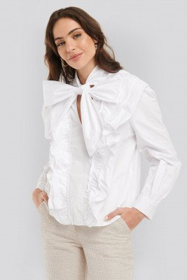 NA-KD Trend NA-KD Trend Pussy Bow Frill Blouse - White