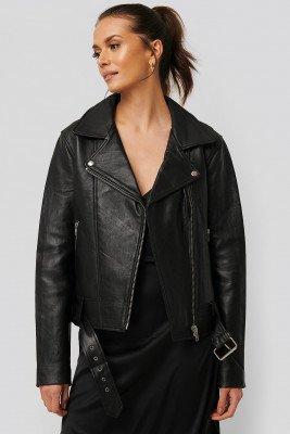 NA-KD Trend NA-KD Trend Oversized Belted Leather Jacket - Black