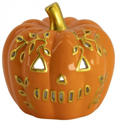 HEMA HEMA Sfeerlichthouder Ø13x13 Pompoen Aardewerk Halloween
