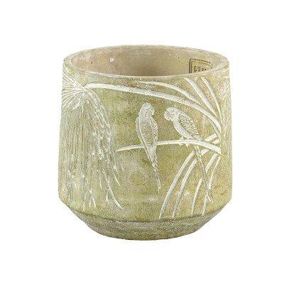 Ptmd bern groen cement pot met vogel op blad rond