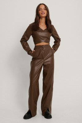 Queen of Jetlags x NA-KD Pu Broek - Brown