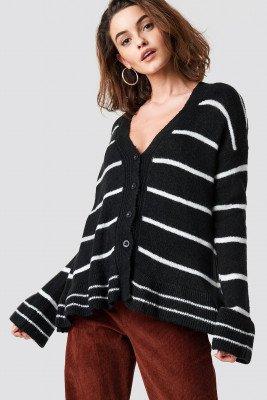 Trendyol Trendyol Striped Knit Cardigan - Black
