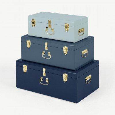 MADE.COM Gunner extra grote set van 3 metalen opbergkoffers, blauwtinten