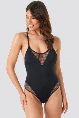Trendyol Fishnet Detailed Swimsuit - Black