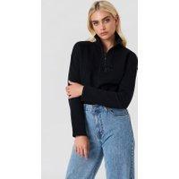 NA-KD Front Zipper Sweatshirt - Black
