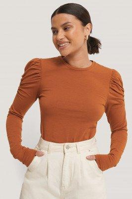 NA-KD Trend NA-KD Trend Puff Long Sleeve Jersey Top - Orange