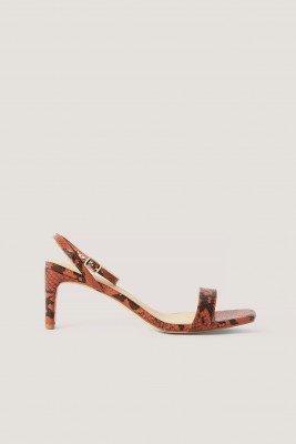 NA-KD Shoes NA-KD Shoes Snake Basic Block Heel Sandals - Red