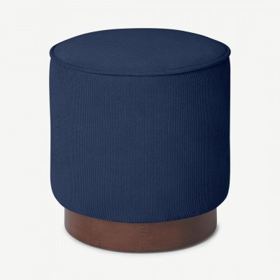 MADE.COM Hetherington kleine poef met houten onderkant, middernacht blauw touw en donker gebeitst hout