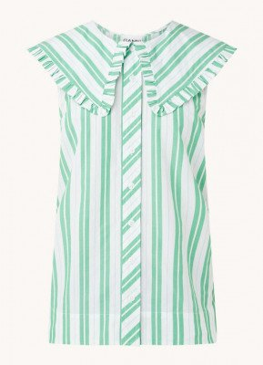Ganni Ganni Mouwloze blouse van biologisch katoen met streepprint