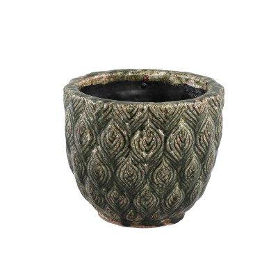 Ptmd skipp groen pot keramiek geglazuurd rond met