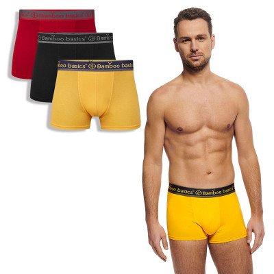 Bamboo Basics Trunk Boxershorts Liam (3-pack) - Rood, Zwart & Okergeel XL