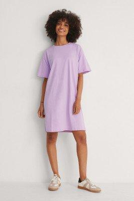 NA-KD Basic NA-KD Basic Organisch Recht Cropped T-shirtjurk - Purple