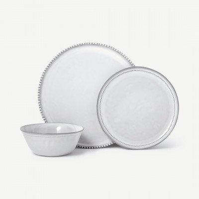 MADE.COM Sulo 12-delig serviesset met whitewash glazuur, roomwit