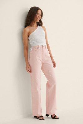 Anna Briand x NA-KD Anna Briand x NA-KD Pasvorm Met Hoge Taille Rechte Jeans - Pink