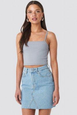 NA-KD NA-KD Short Raw Hem Denim Skirt - Blue