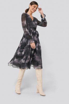 NA-KD Trend NA-KD Trend Tie-Dye Midi Pleated Dress - Grey