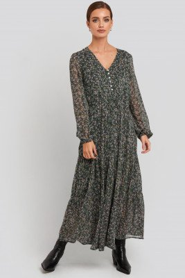 Mango MANGO Liberty Dress - Green,Multicolor
