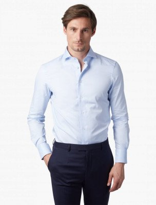 Cavallaro Napoli Cavallaro Napoli Heren Overhemd - Nosto Oxford Light Blue Overhemd - Blauw