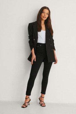 NA-KD NA-KD Organisch Skinny Petite Jeans Met Hoge Taille - Black
