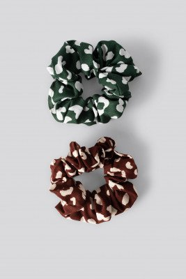 NA-KD Accessories NA-KD Accessories Double Pack Patterned Scrunchies - Multicolor