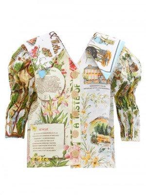 Matchesfashion Chopova Lowena - Puff-sleeve Upcycled Cotton Tea-towel Blouse - Womens - Multi