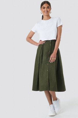 NA-KD Trend NA-KD Trend Cargo A-line Ankle Skirt - Green