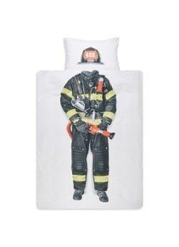Snurk Snurk Brandweerman kinderdekbedovertrekset van katoen perkal 160TC - inclusief kussenslopen