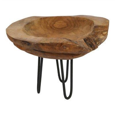 Firawonen.nl PTMD Serra wood teak bowl round on iron foot