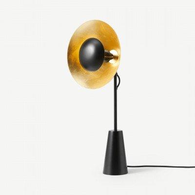 Arne tafellamp, zwart en goud folie