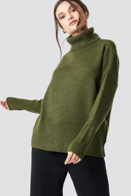 NA-KD Trend NA-KD Trend Highneck Wide Rib Long Sweater - Green