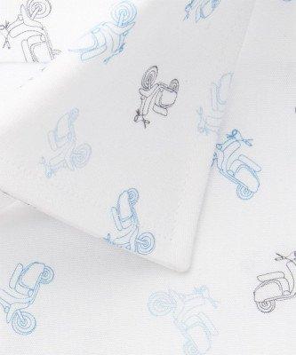 Michaelis Michaelis heren scooterprint overhemd blauw strijkvrij