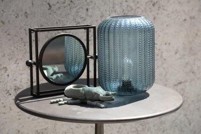 Firawonen.nl PTMD bodine zwart metalen kader rond spiegel vierk