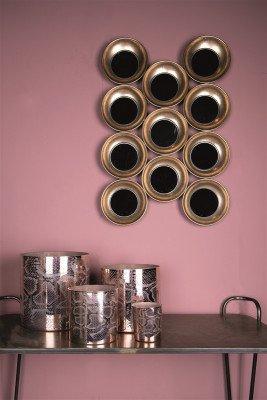 Firawonen.nl PTMD Zelia Gold metalen spiegel cirkels rechthoek