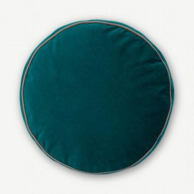 MADE.COM Julius rond fluwelen kussen, 45 cm diameter, donkerturkooisblauw