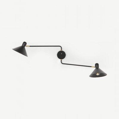 MADE.COM Ogilvy wandlamp met twee armen, mat zwart en antiek messing