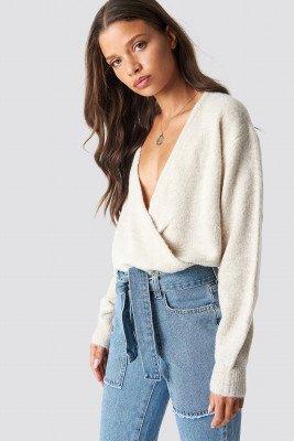 NA-KD NA-KD V-Neck Overlap Knitted Sweater - Beige