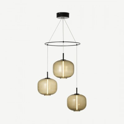 MADE.COM Olney hanglamp, champagne glas en matzwart metaal