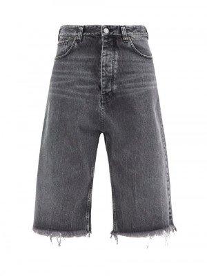 Matchesfashion Balenciaga - Frayed Cropped Jeans - Womens - Black