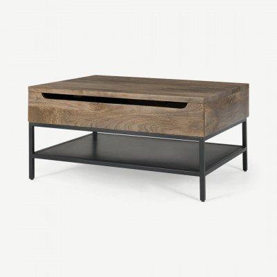 MADE.COM Lomond uitklapbare salontafel met opbergruimte, mangohout en zwart