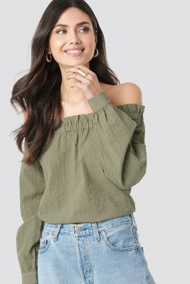 NA-KD Boho Off Shoulder Structured Blouse - Green