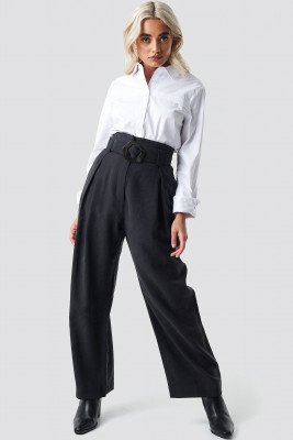 MANGO Bag Trousers - Black