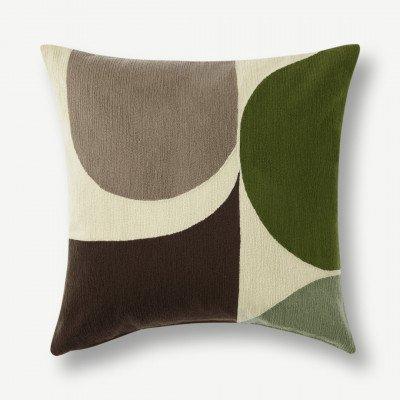 MADE.COM Zayyan geborduurd kussen, 45 x 45 cm, groen en grijs