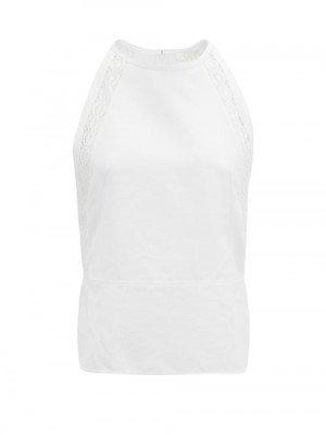 Chloé - Lace-trimmed Linen-blend Top - Womens - White